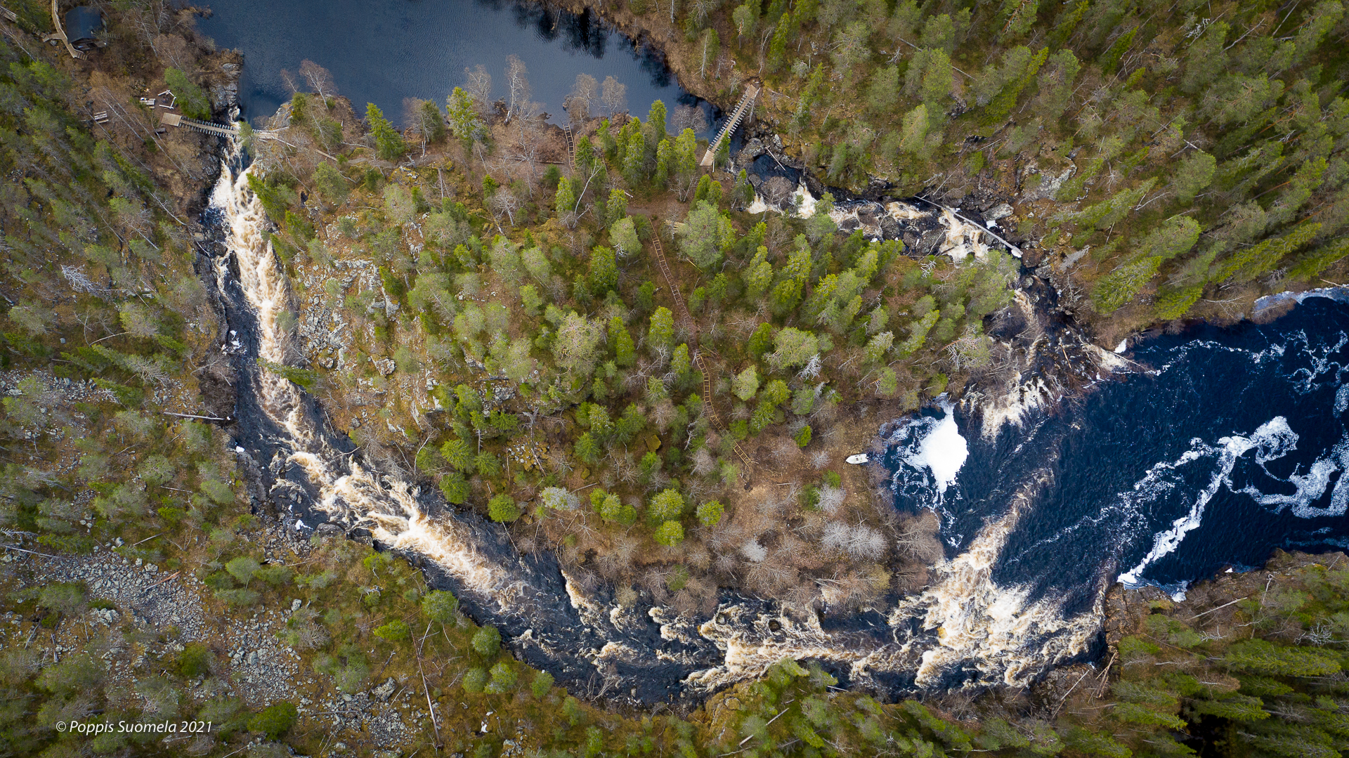 Wild water river, forests and suspension birdges from the bird's point of view.